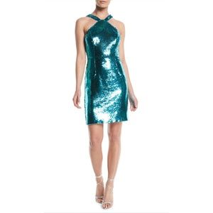 Aiden Mattox Teal Flip Sequin Halter Mini Dress 0